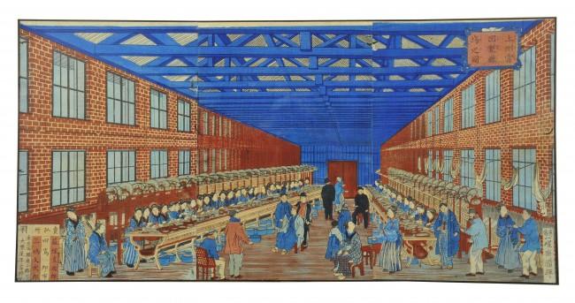 一曜斉国輝画 「上州富岡製絲場之圖 」 1873(明治6)年